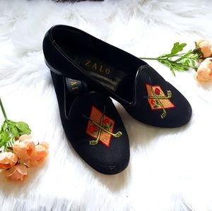 ZALO black embroidered golf club slip on loafers